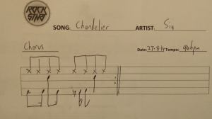 Chandelier by Sia is the song to learn on drums this week!
